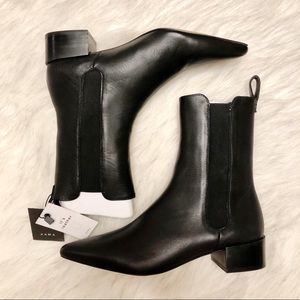 ZARA | Stretch Leather Ankle Boots